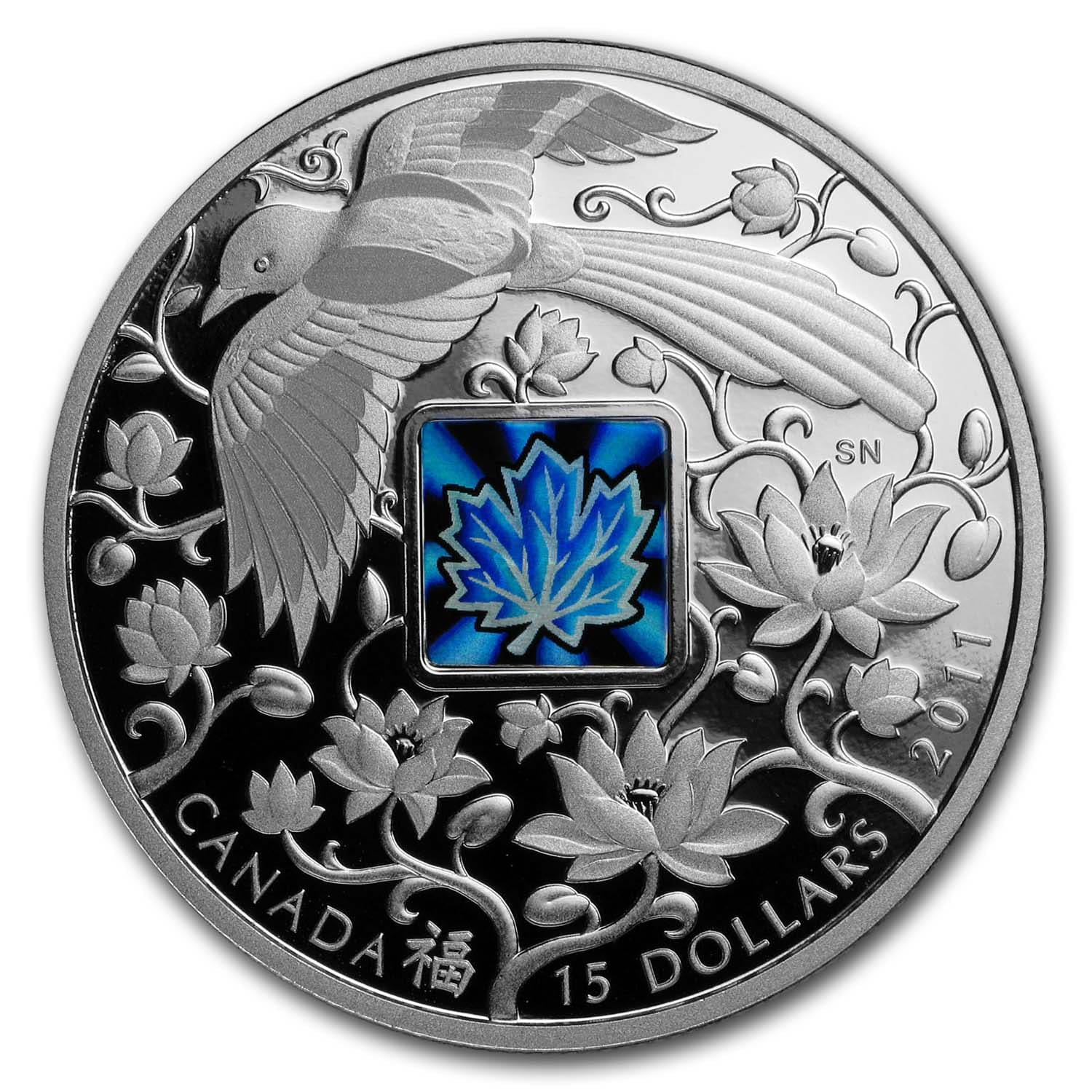 2011 0.86 oz Silver Canadian $15 - Maple Of Happiness W/Hologram