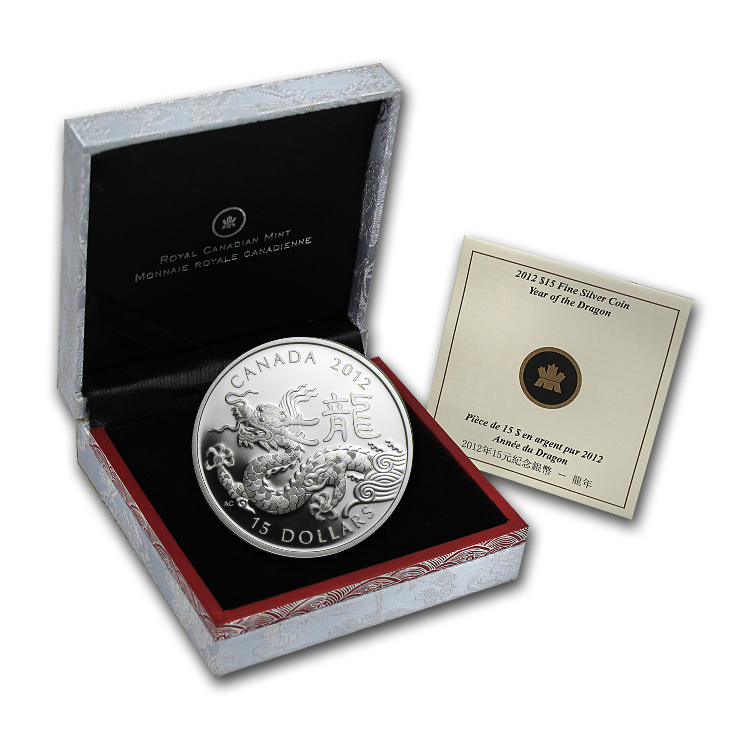 2012 1 oz Silver Canadian $15 Lunar Dragon (w/Box & COA)