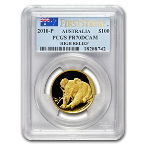 2010-P Australia 1 oz Gold Koala PR-70 PCGS (FS, High Relief)