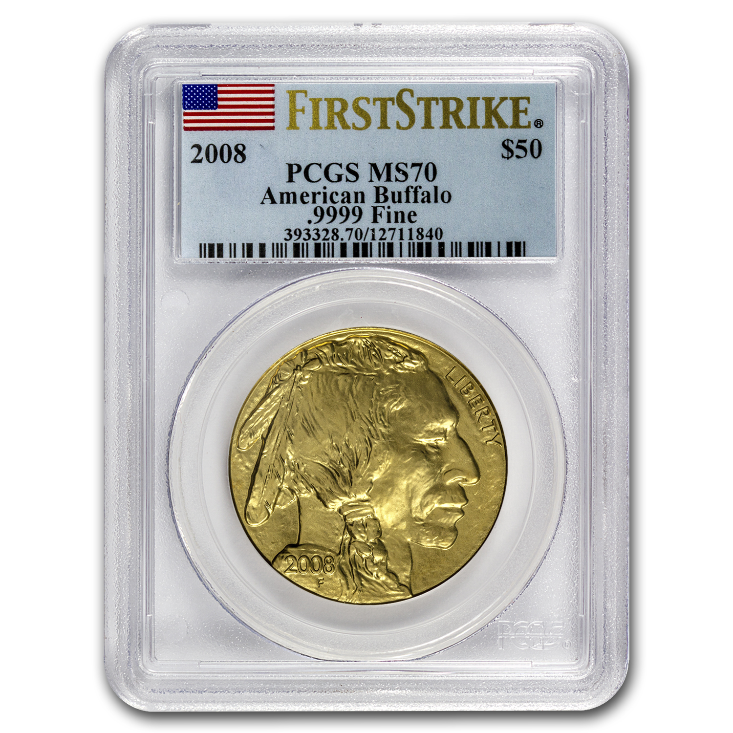 2008 1 oz Gold Buffalo MS-70 PCGS (First Strike)