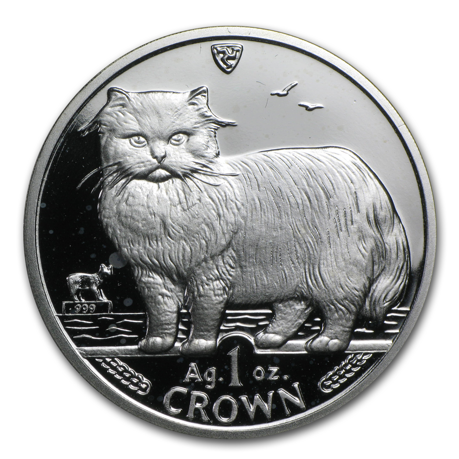 Isle of Man 1 Crown Silver Proof Cats Random Dates (Spotted)