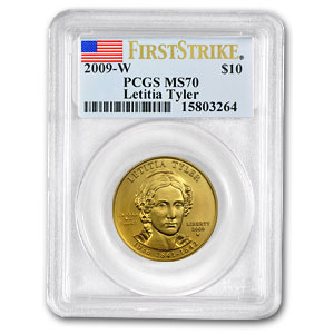 2009-W 1/2 oz Gold Letitia Tyler MS-70 PCGS (First Strike)