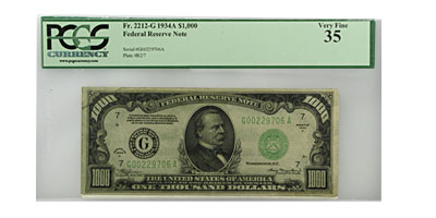 1934-A (G-Chicago) $1,000 FRN VF-35 PCGS