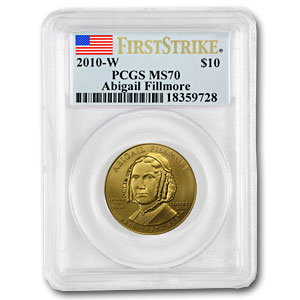 2010-W 1/2 oz Gold Abigail Fillmore MS-70 PCGS (First Strike)