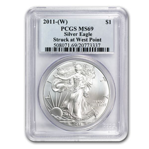 2011 (W) Silver Eagle MS-69 PCGS (West Point Label)