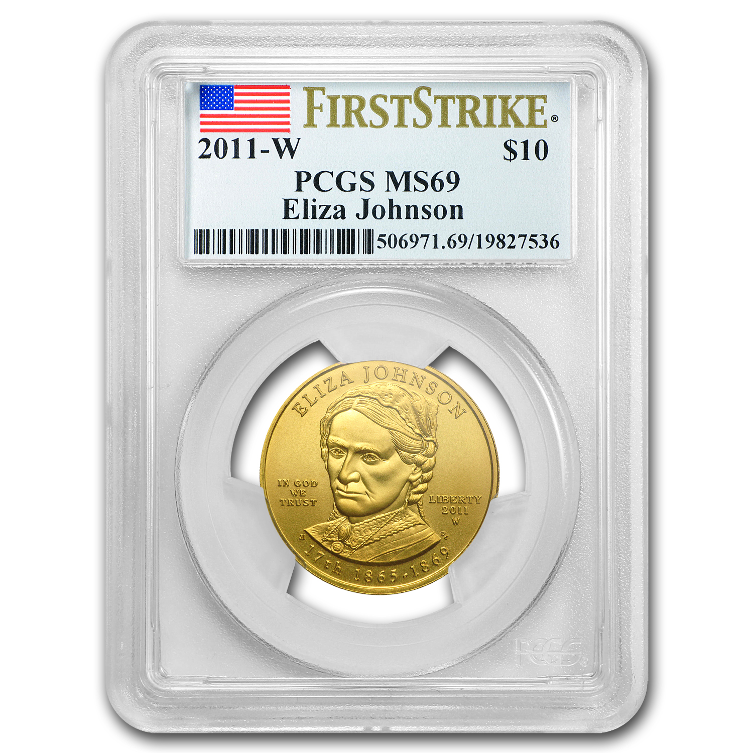 2011-W 1/2 oz Gold Eliza Johnson MS-69 PCGS (First Strike)