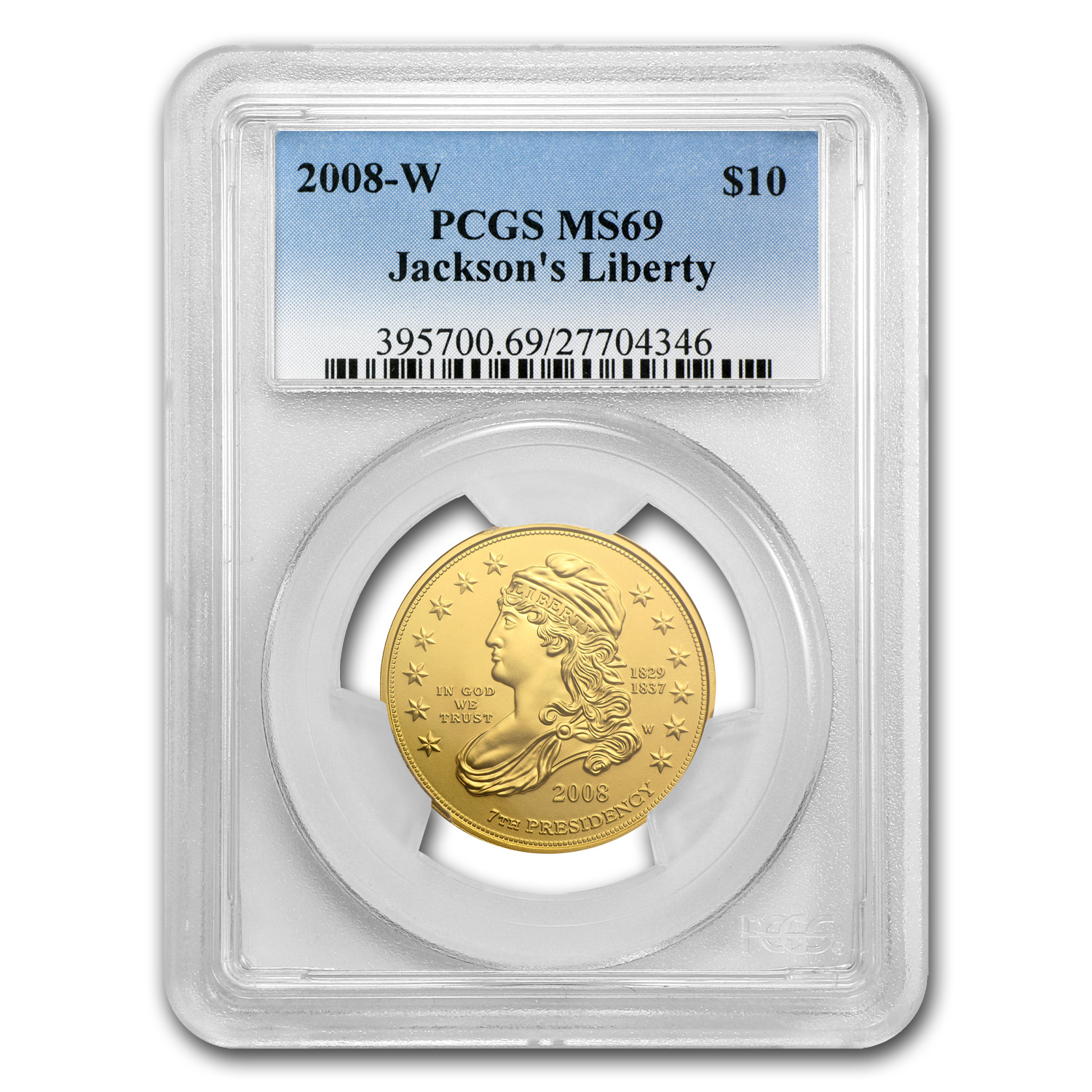2008-W 1/2 oz Gold Jackson's Liberty MS-69 PCGS