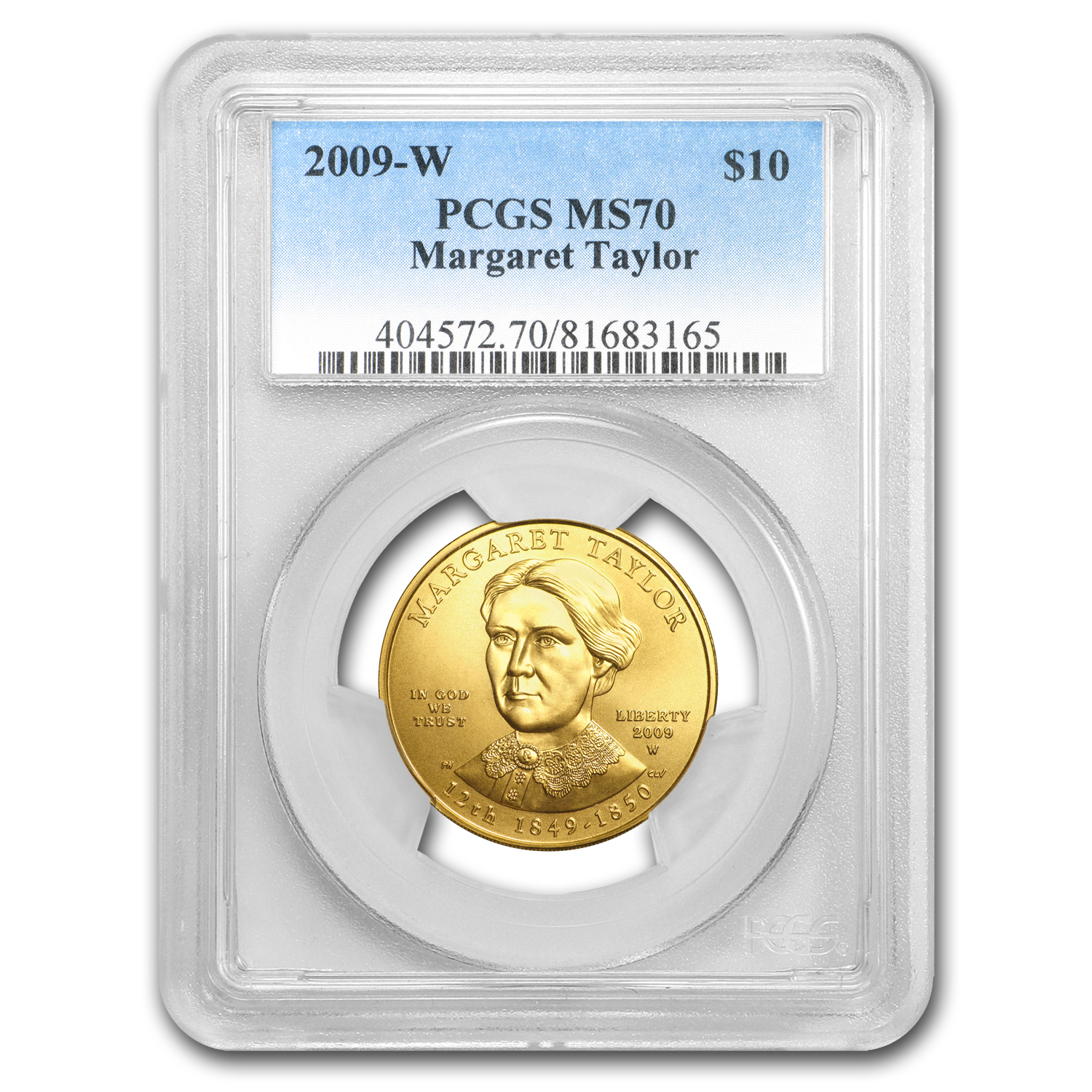 2009-W 1/2 oz Uncirculated Gold Margaret Taylor MS-70 PCGS