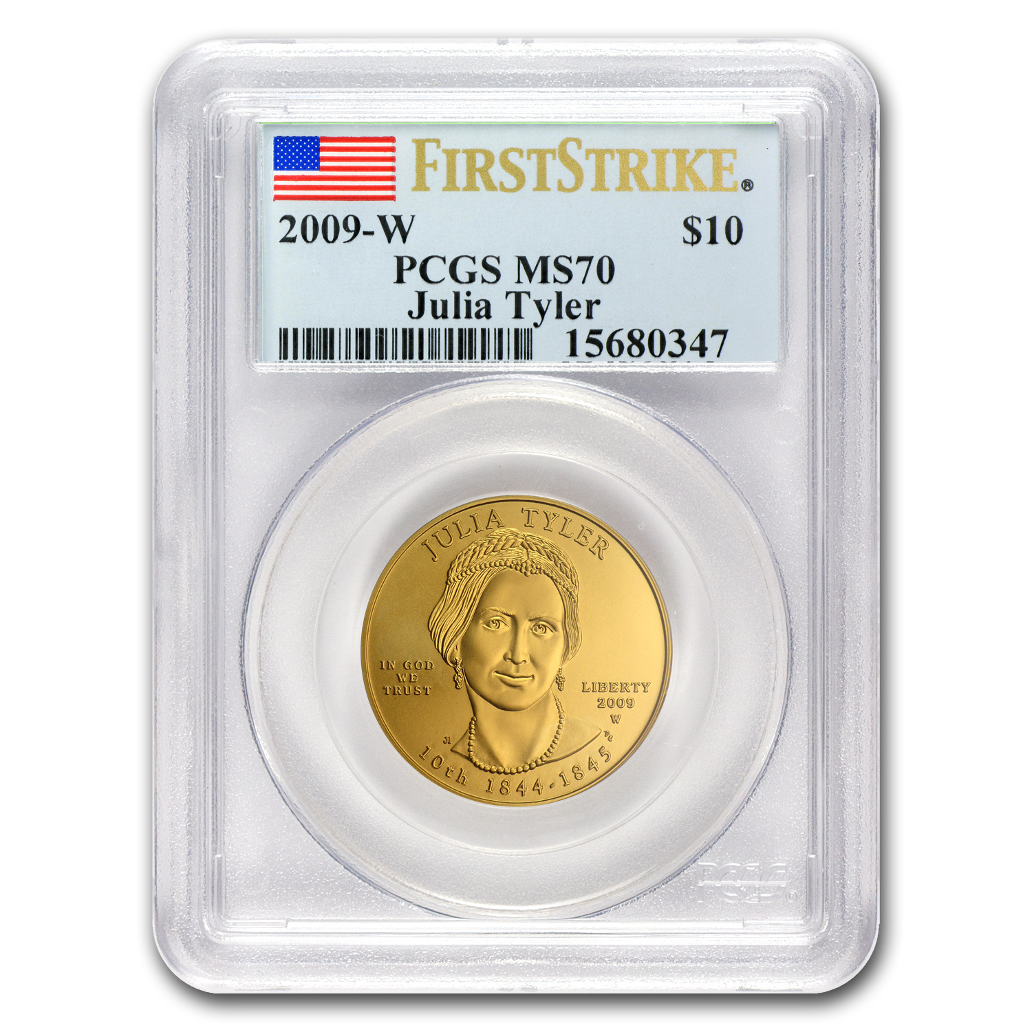 2009-W 1/2 oz Gold Julia Tyler MS-70 PCGS (First Strike)