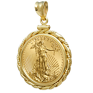 2014 1/4 oz Gold Eagle Pendant (Fancy Cable-ScrewTop Bezel)