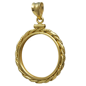14K Gold Screw-Top Fancy Cable Coin Bezel - 22 mm