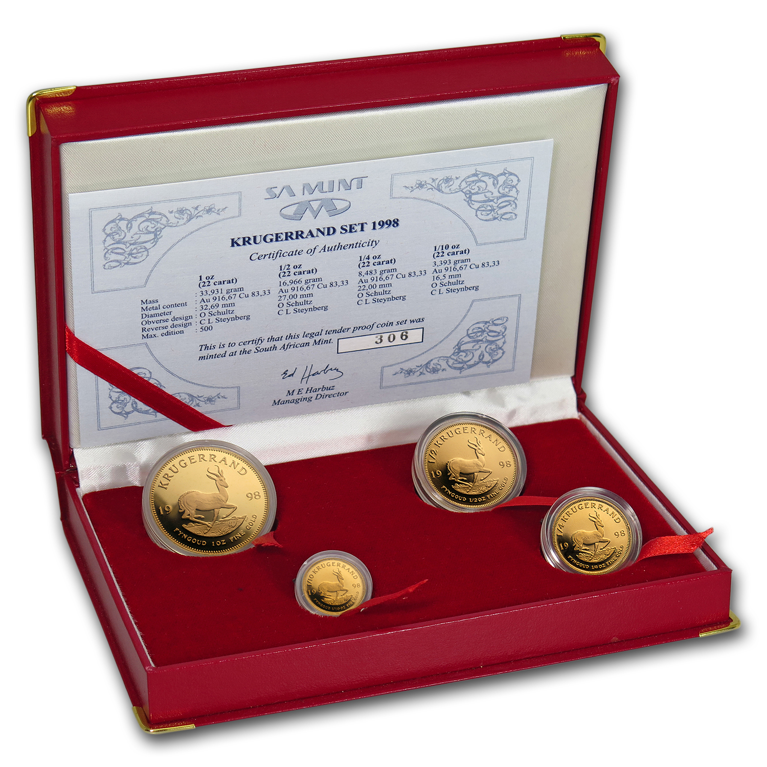 1998 South Africa 4-Coin Gold Krugerrand Proof Set