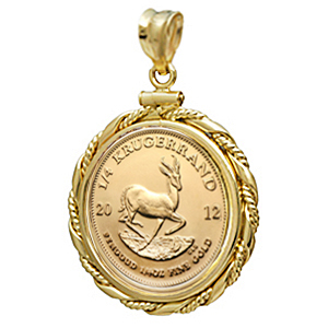 2014 1/4 oz Gold Krugerrand Pendant (Fancy Wire-ScrewTop Bezel)