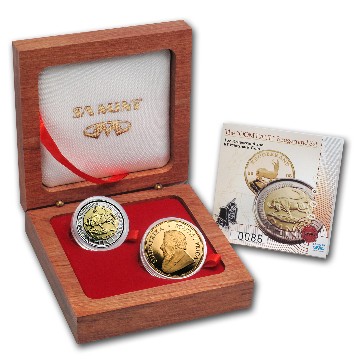2008 2-Coin Gold South African Oom Paul Proof Set (w/Box & CoA)