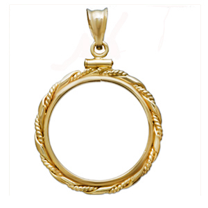 14K Gold Screw-Top Fancy Cable Bezel - 16.5 mm