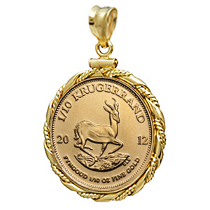 2014 1/10 oz Gold Krugerrand Pendant (Fancy Wire-ScrewTop Bezel)