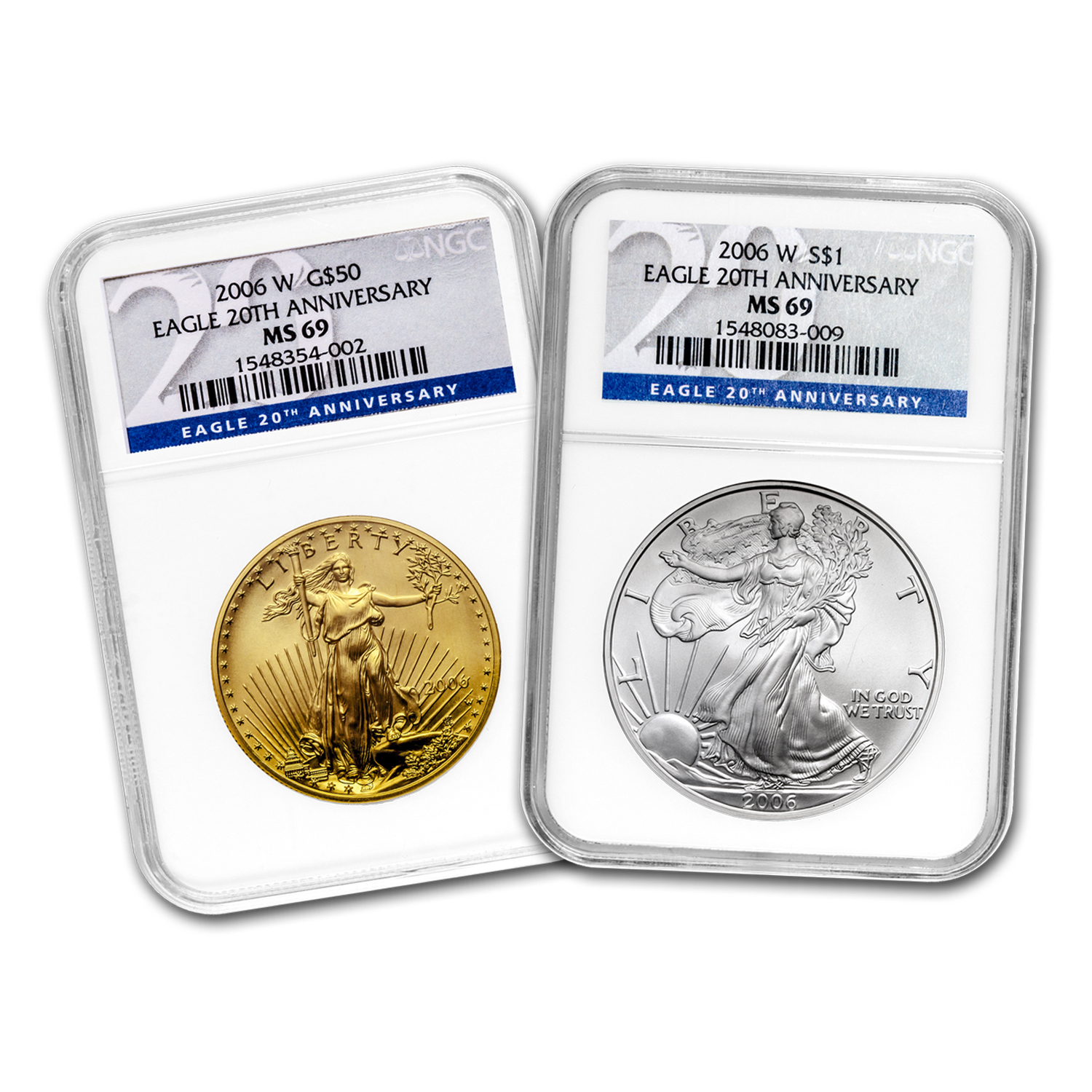 2006-W 2-Coin Burnished Gold & Silver Eagle Set MS-69 NGC (20th)