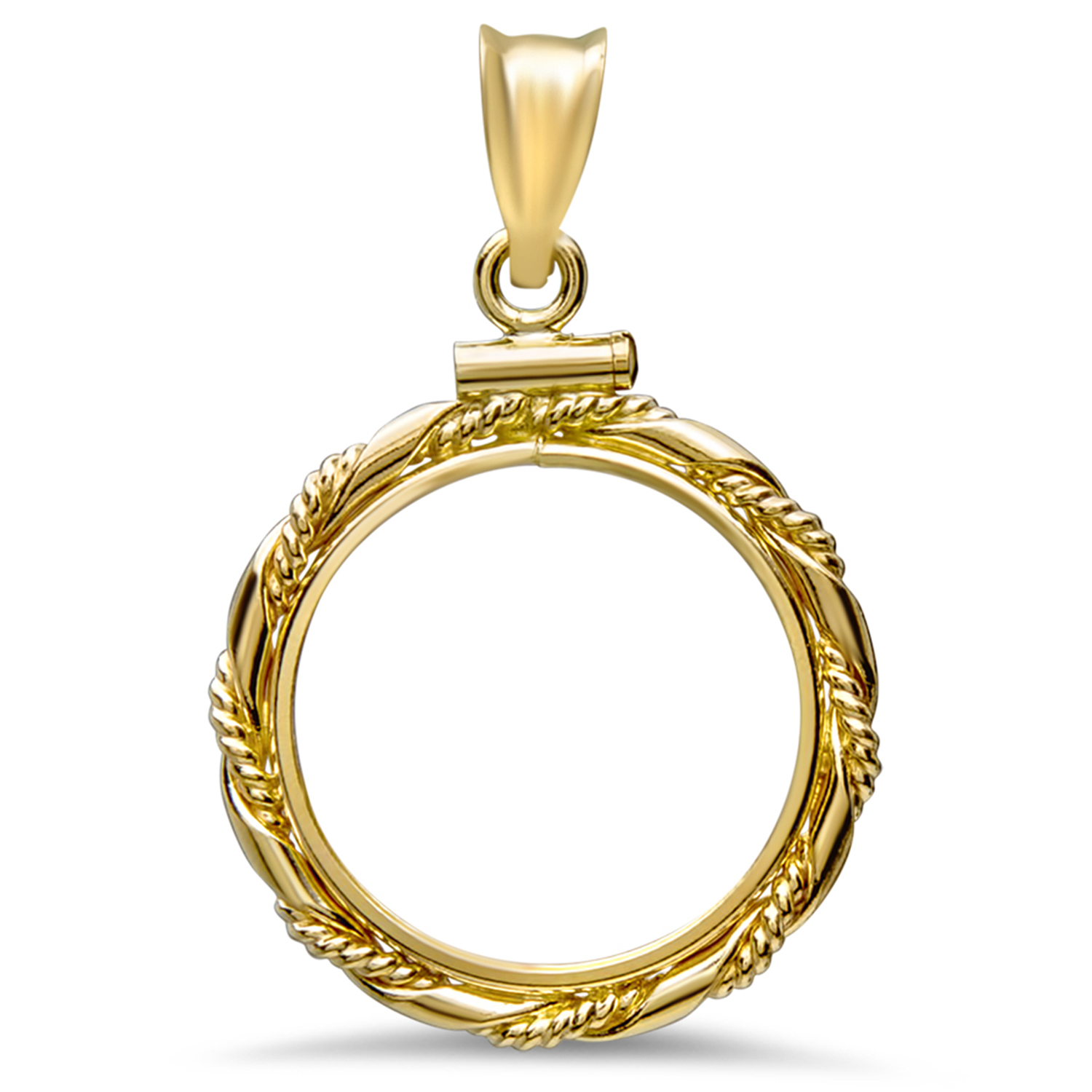 14K Gold Screw-Top Fancy Cable Bezel - 18 mm