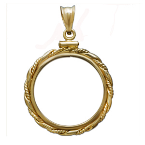 14K Gold Screw-Top Fancy Cable Bezel - 14 mm