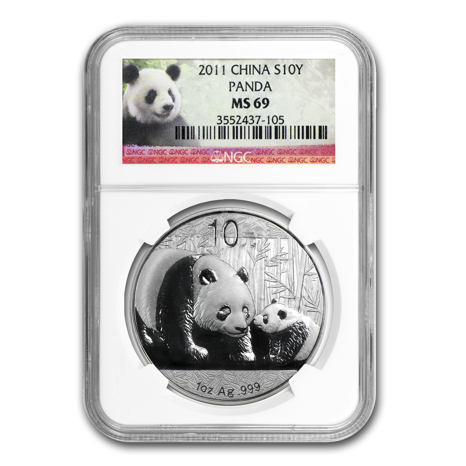 2011 Silver Chinese Panda 1 oz - MS-69 NGC
