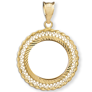 14K Gold Prong Diamond-Cut Filigree Coin Bezel - 18 mm