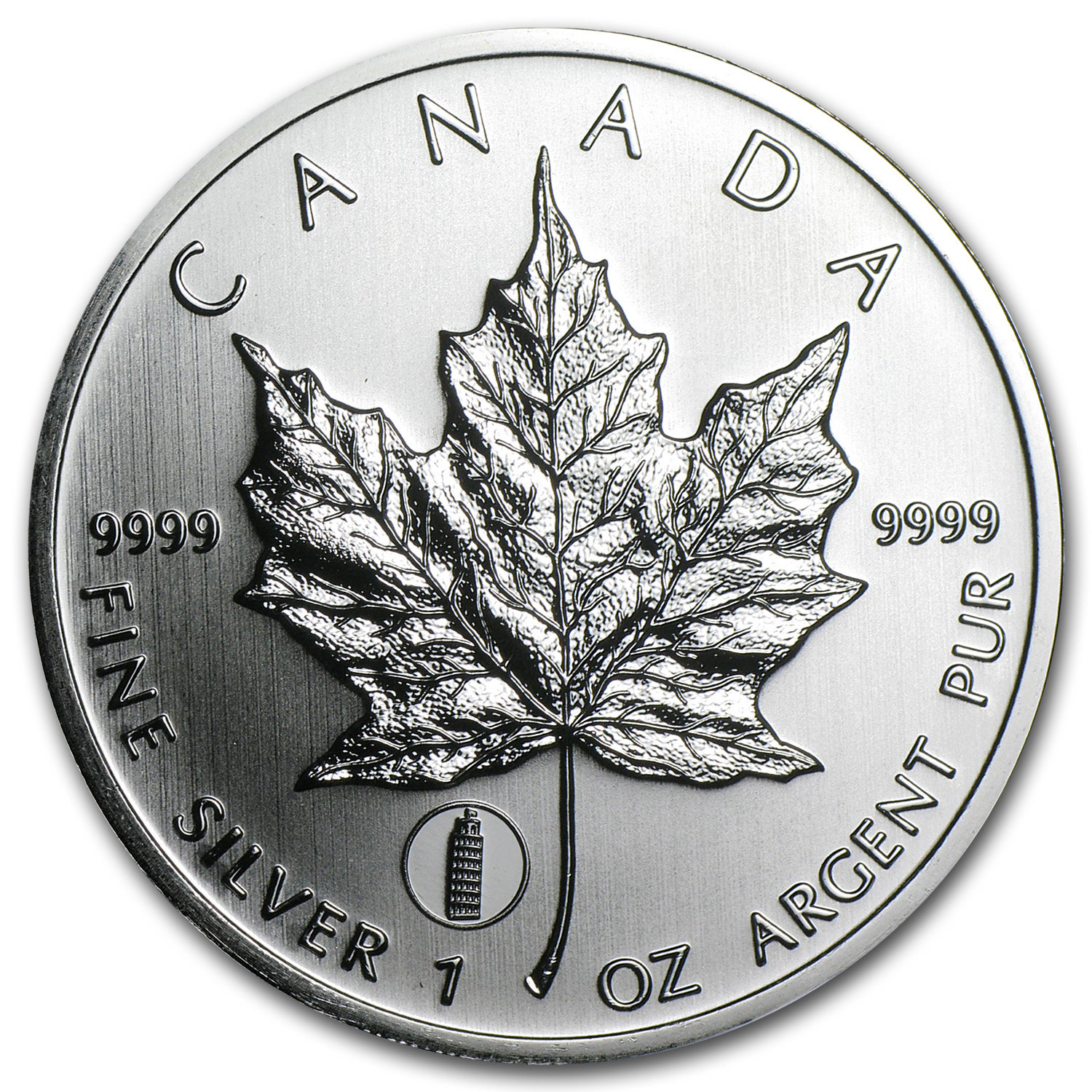 2012 Canada 1 oz Silver Maple Leaf Leaning Tower of Pisa Privy