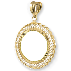 14K Gold Prong Diamond-Cut Filigree Coin Bezel - 14 mm