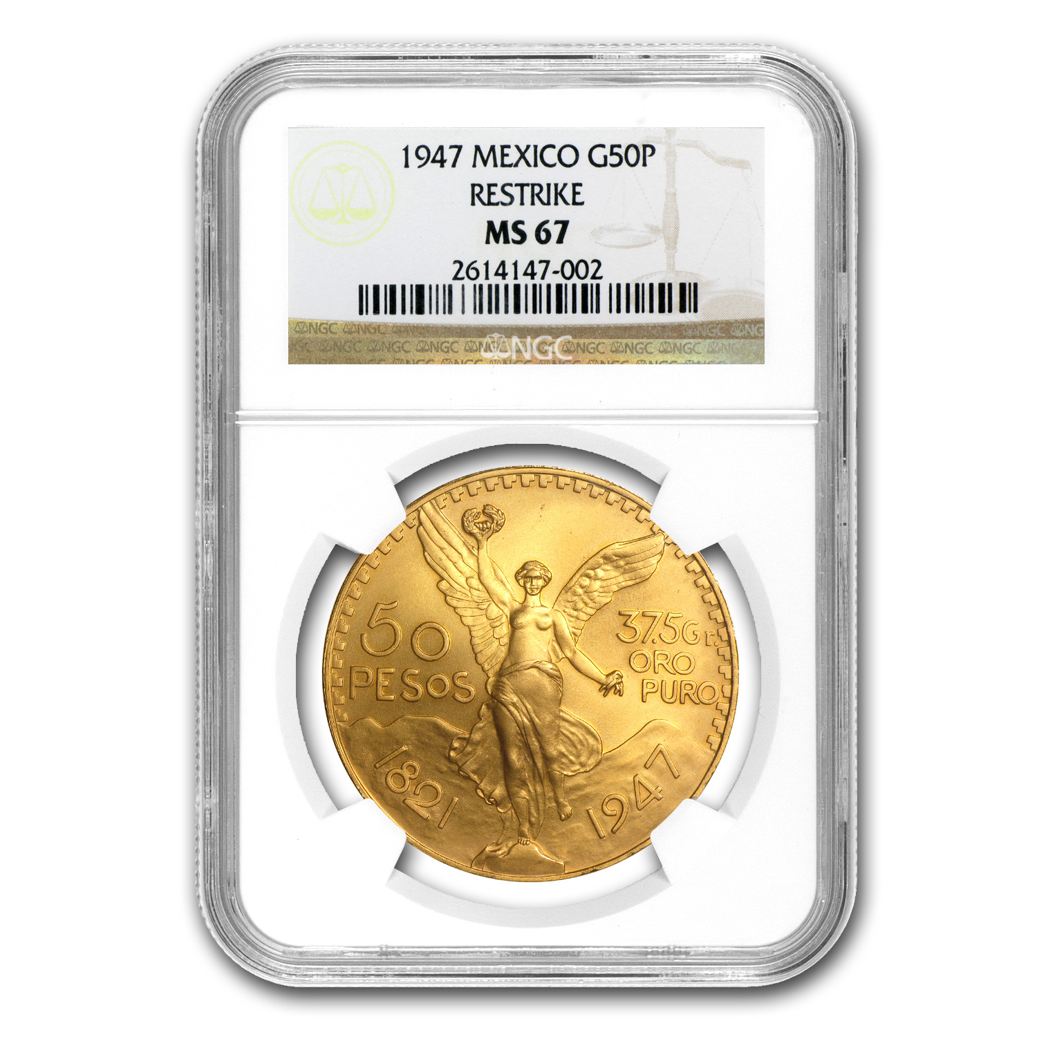 1947 Mexico Gold 50 Pesos MS-67 NGC