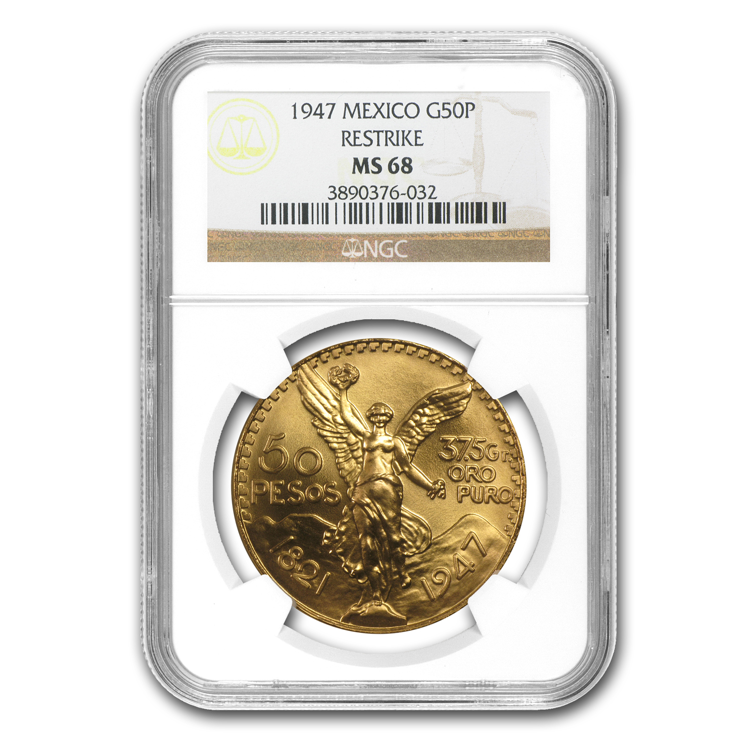 1947 Mexico Gold 50 Pesos MS-68 NGC (Restrike)