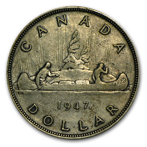 Canada 1947 Silver Dollar Maple Leaf   VF