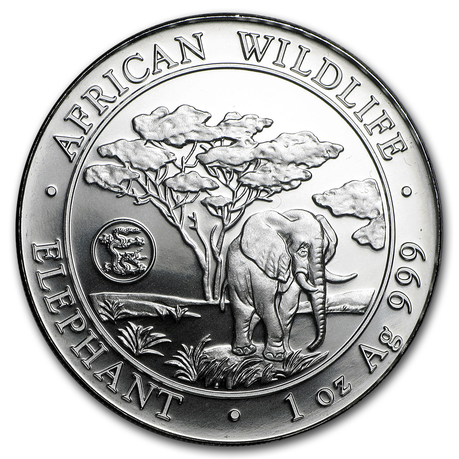 2012 Somalia 1 oz Silver African Elephant (Dragon Privy)