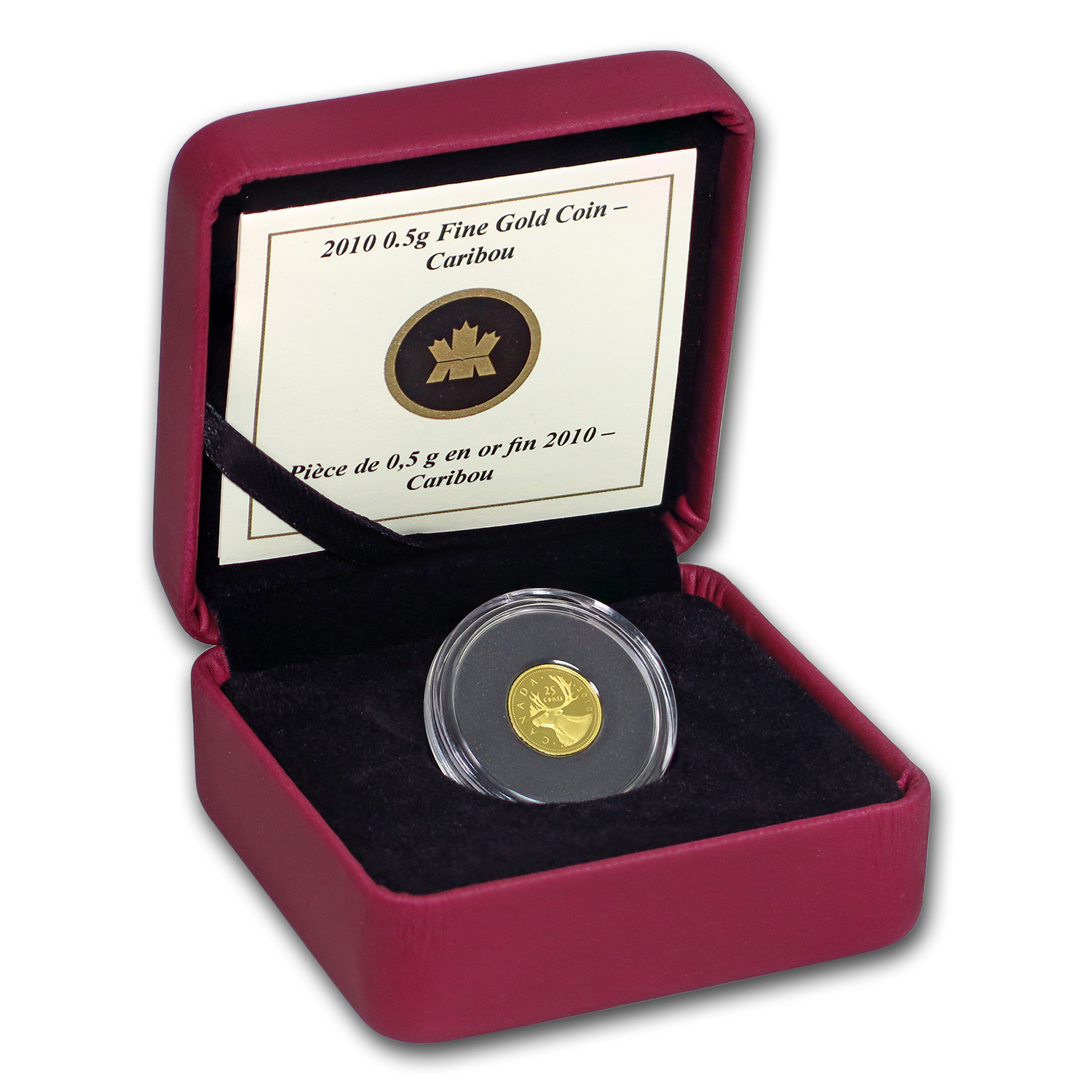 2010 Canada 1/2 gram Proof Gold $0.25 Caribou (w/Box & COA)