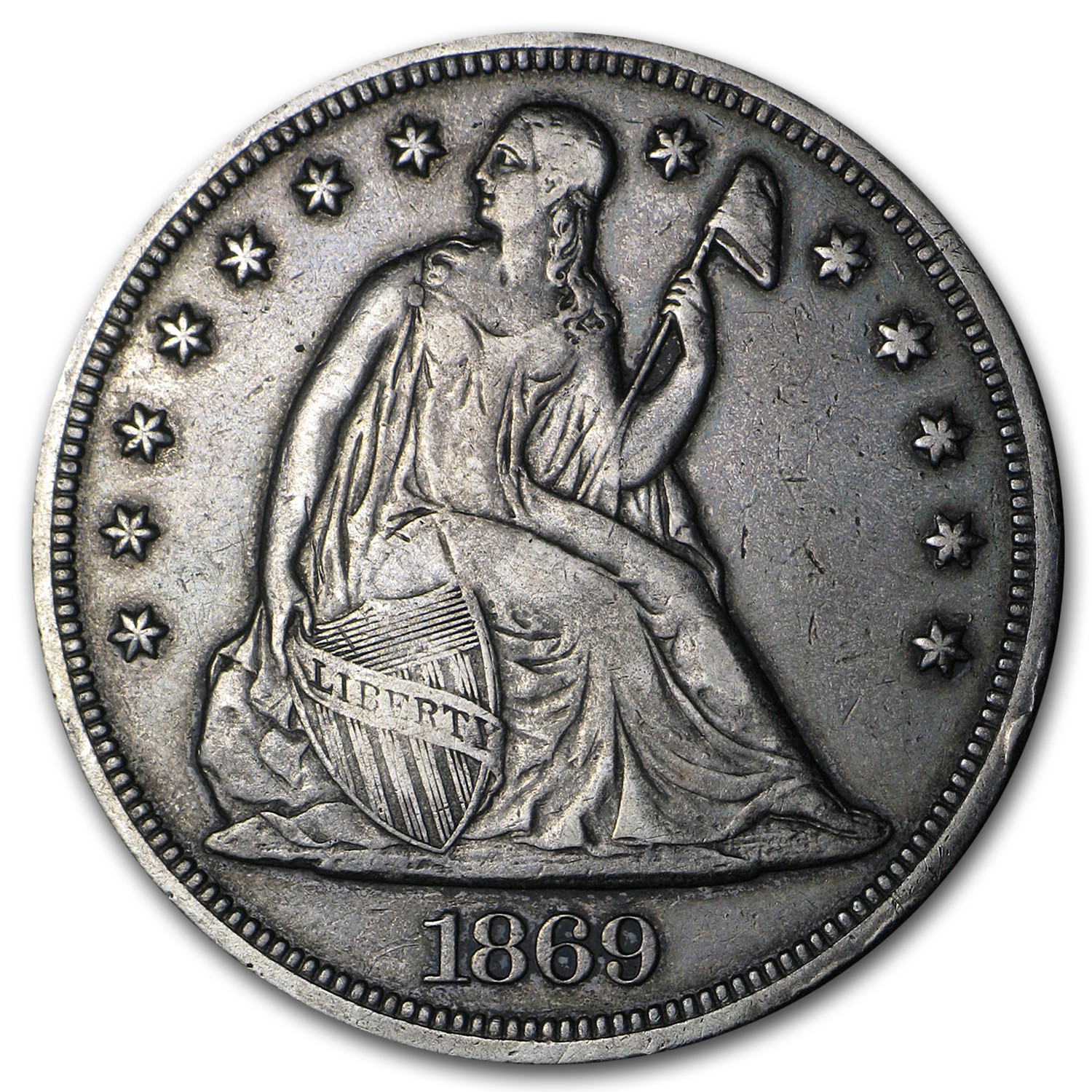 1869 Liberty Seated Dollar - Very Fine