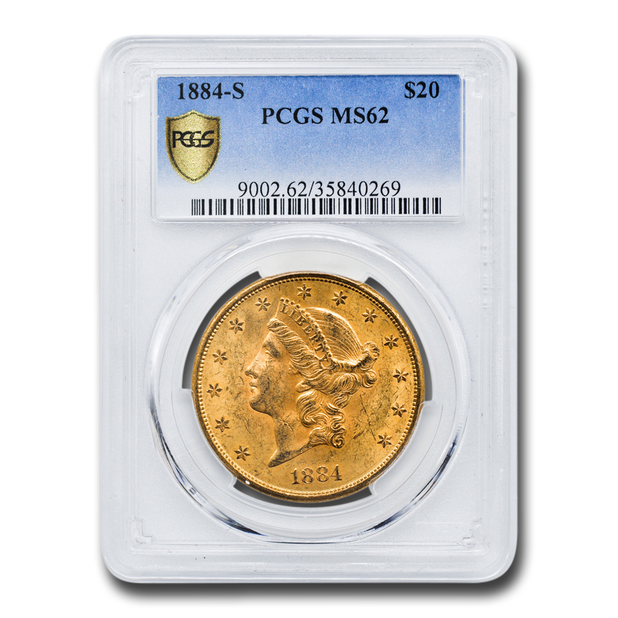 1884-S $20 Liberty Gold Double Eagle MS-62 PCGS