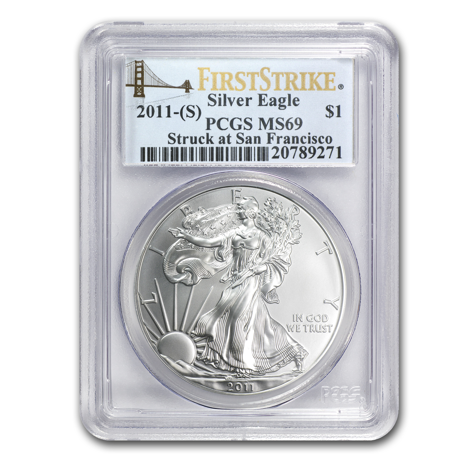 2011 (S) Silver American Eagle MS-69 PCGS (FS, Golden Gate Label)