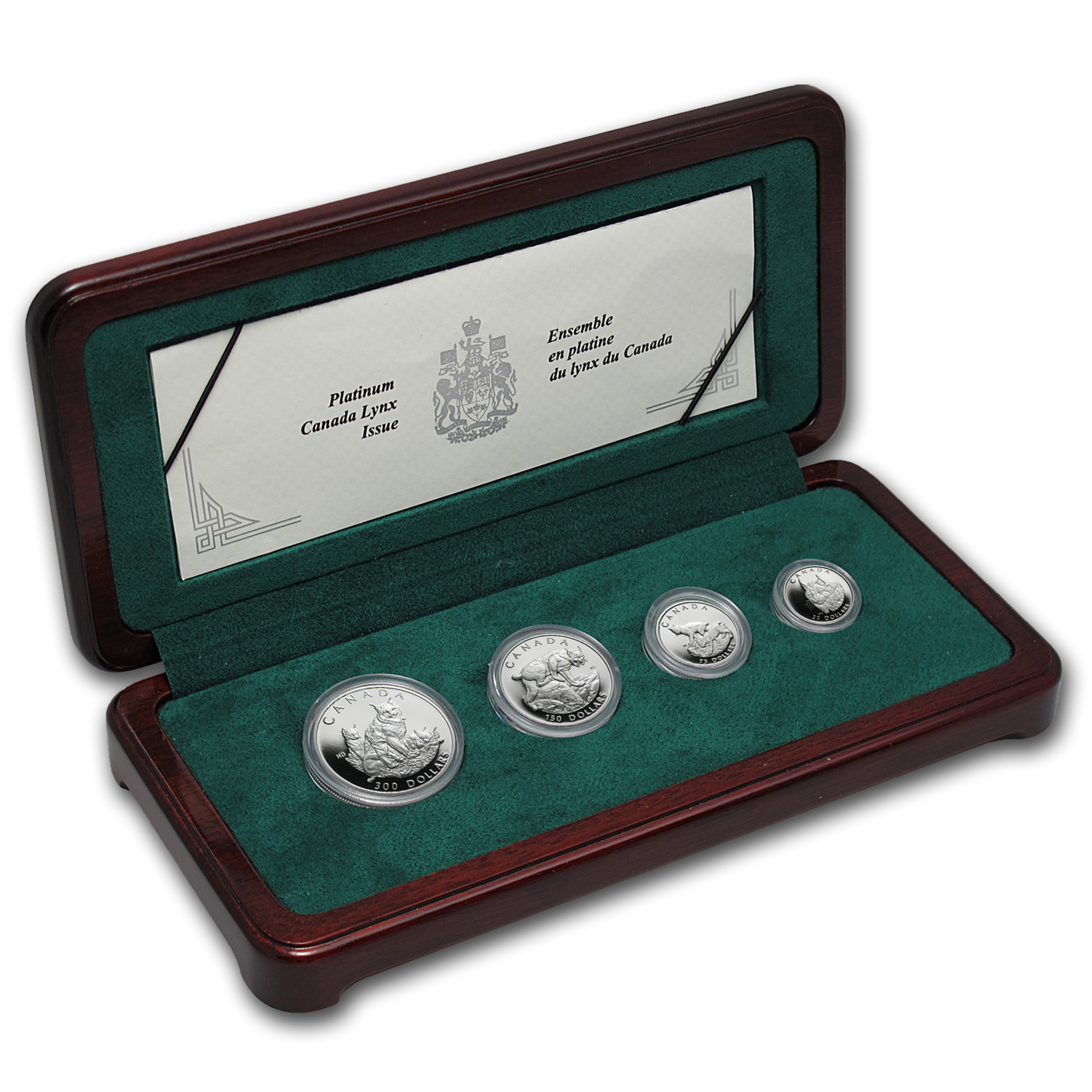 1995 4-Coin Proof Platinum Canadian Lynx Set (w/Box & COA)