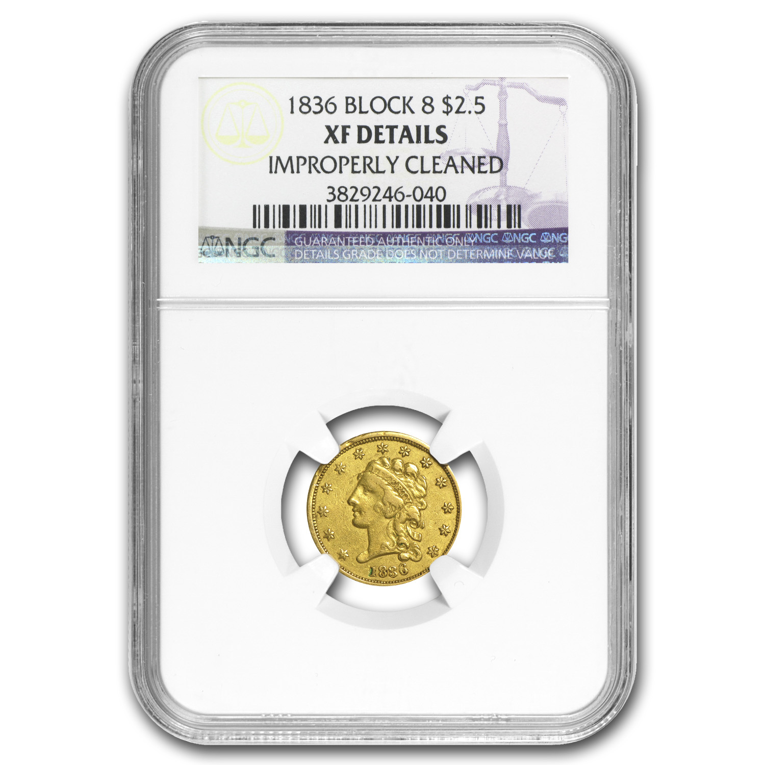 1836 $2.50 Gold Classic Head Script 8 XF Details NGC (Polished)