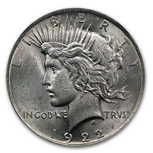 1922 Peace Dollar MS-61 NGC (VAM-2A Ear Ring LDS, Top-50)