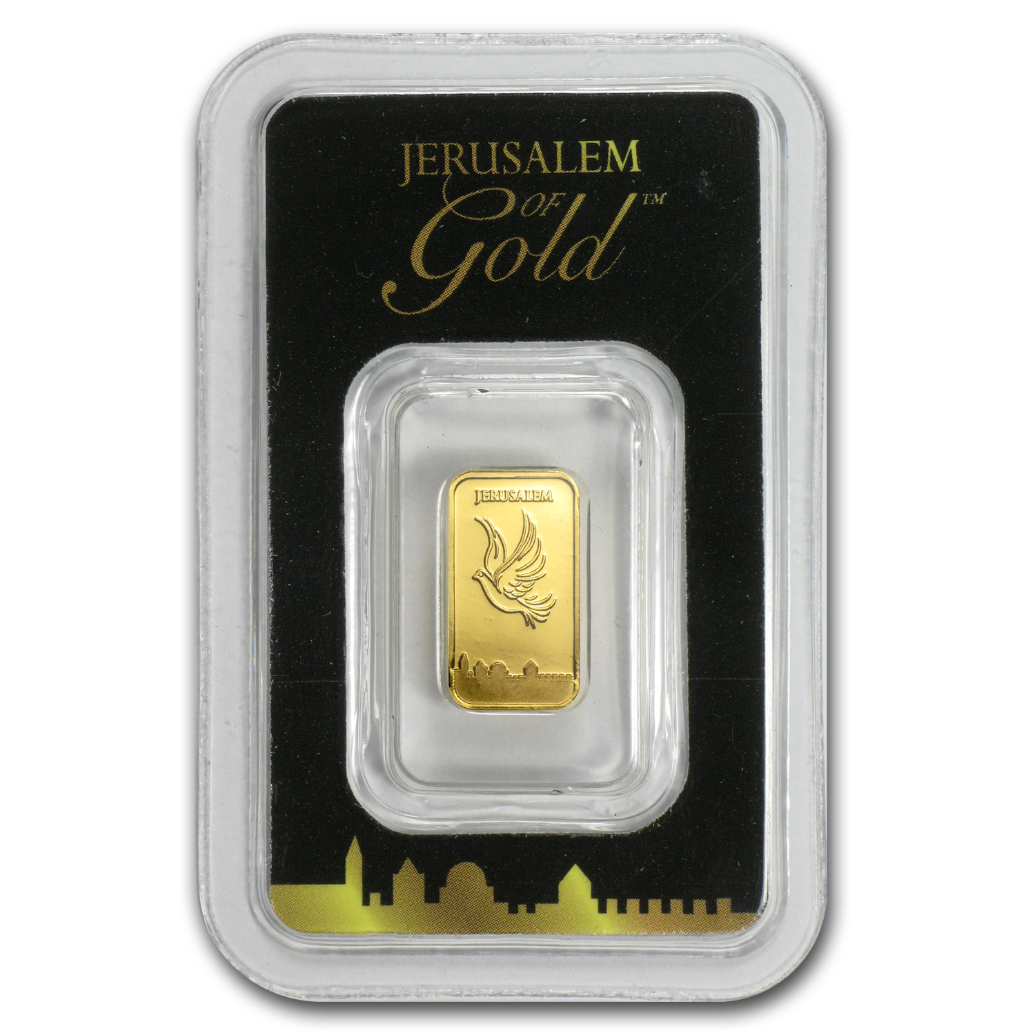1 gram Gold Bar Holy Land Mint Dove of Peace (In Assay)