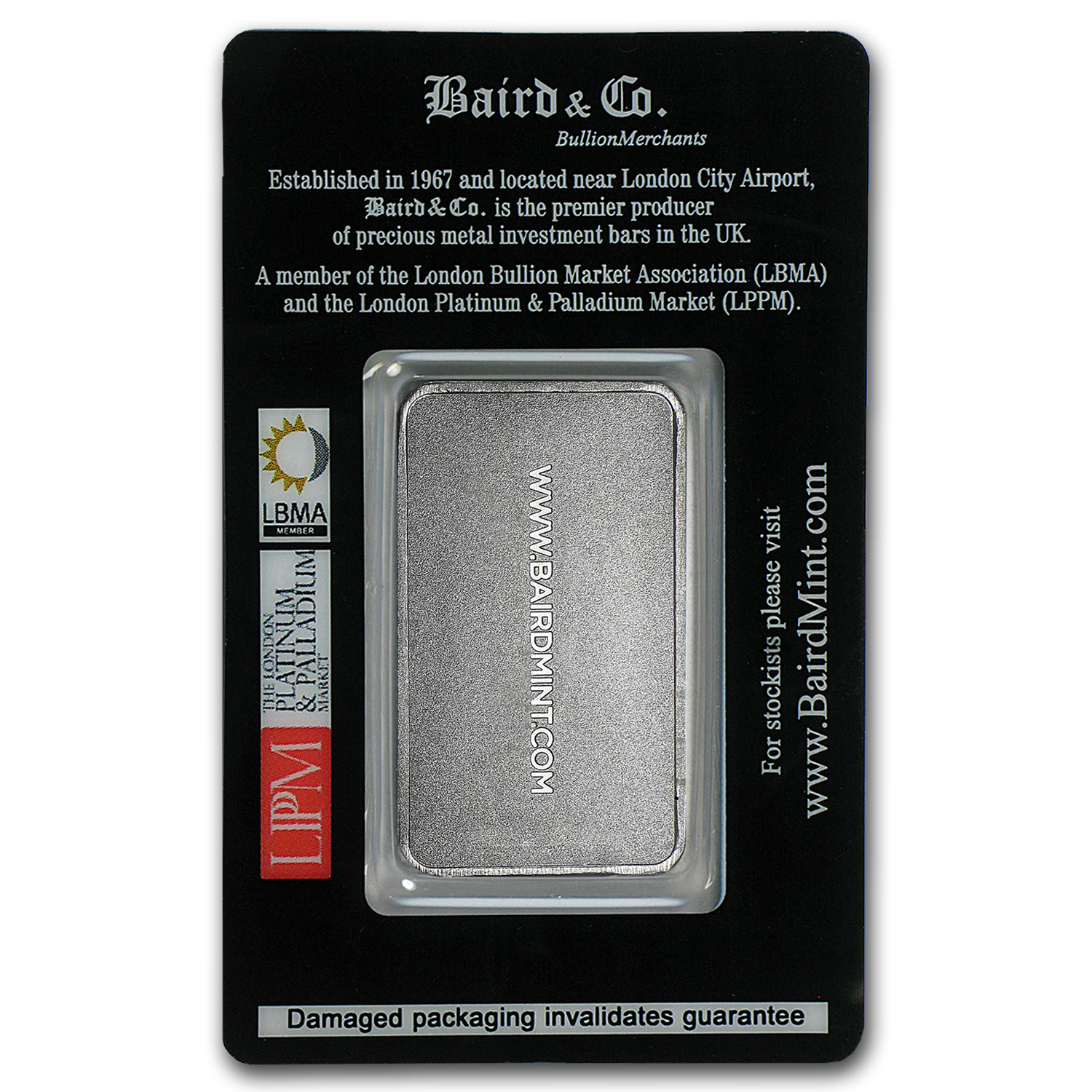 1 oz Baird & Co. Platinum Bar (No Assay) .999+ Fine