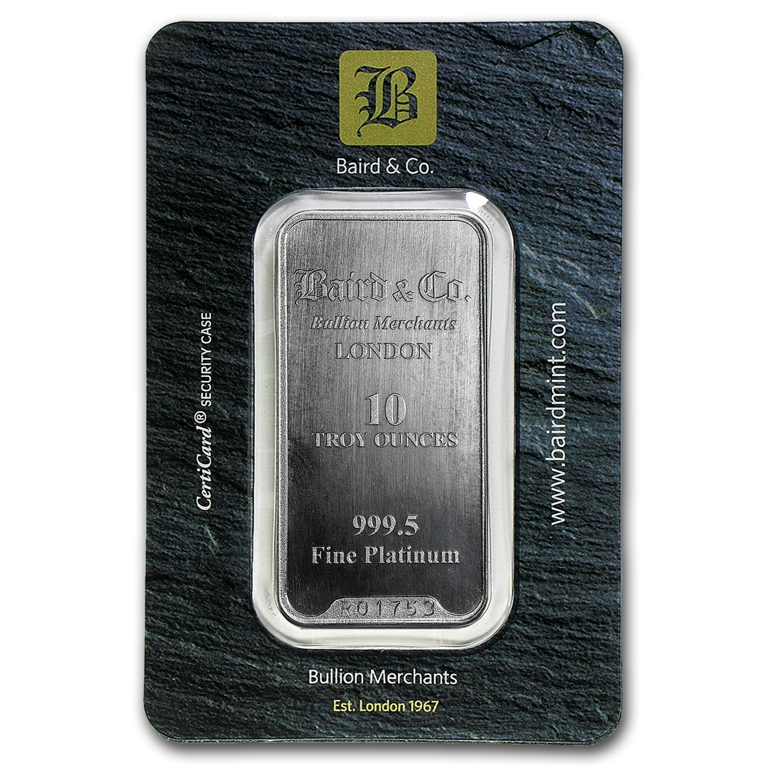 10 oz Platinum Bar - Baird & Co. (In Assay)