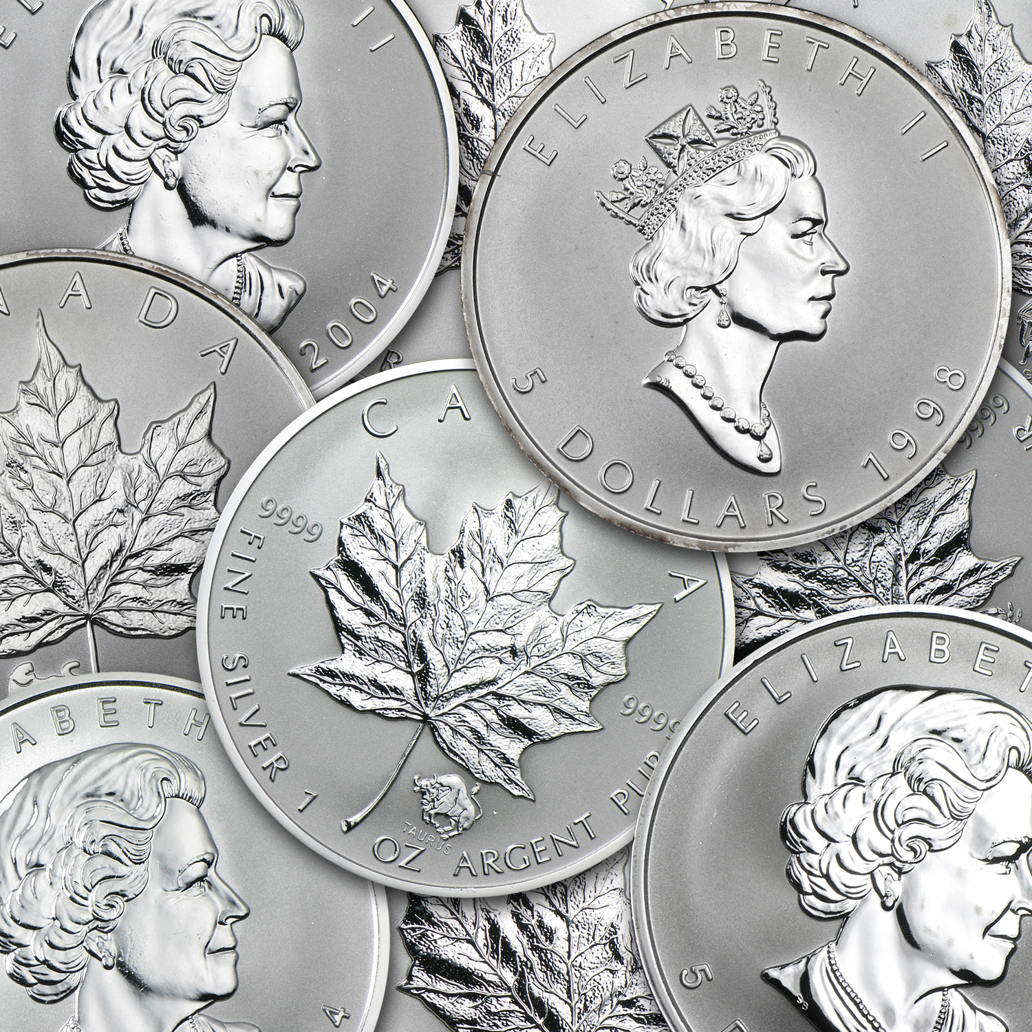 Canada 1 oz Silver Maple Leaf Privy Mark Coins (Random)