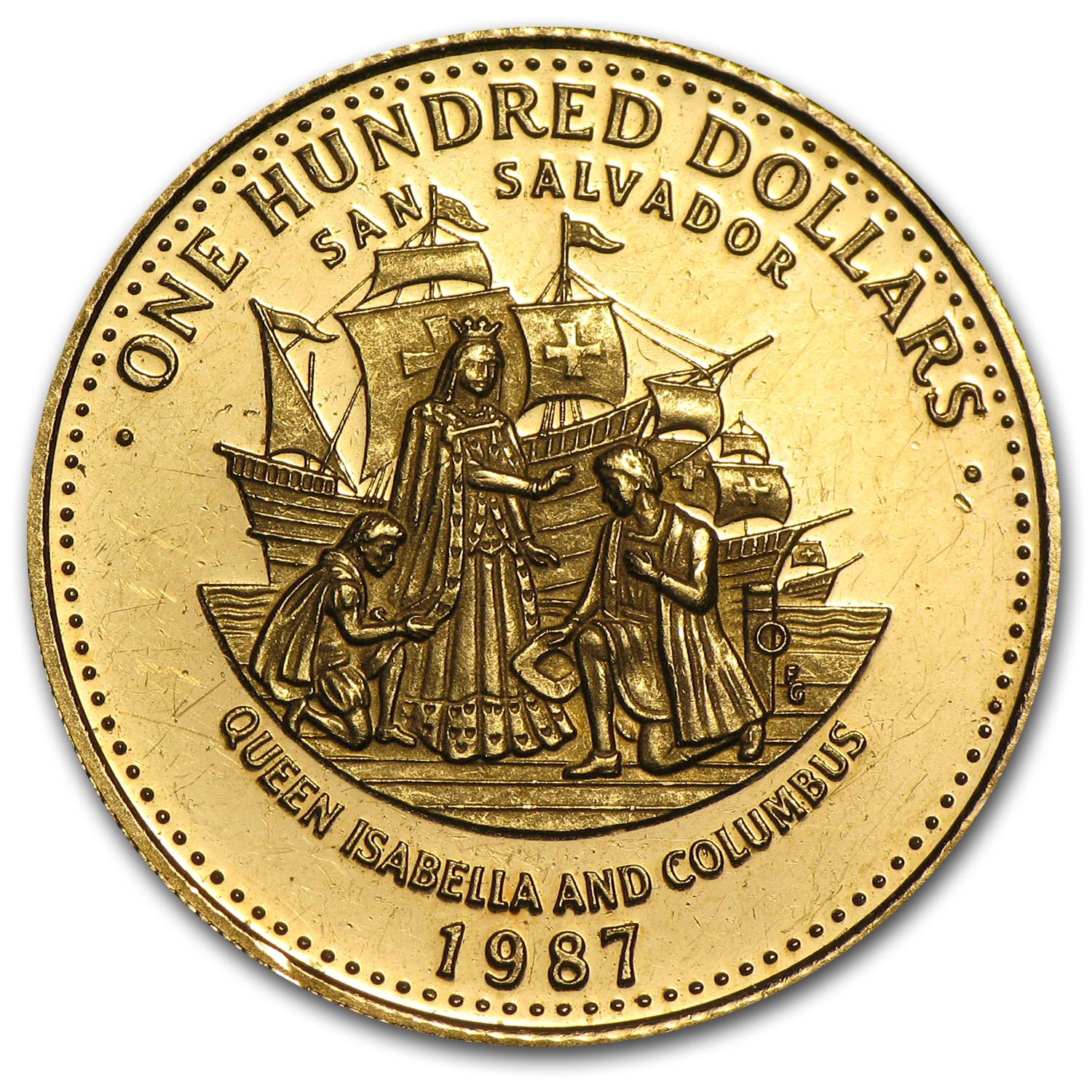 Bahamas Gold 100 Dollars Columbus BU/Proof (Random Dates)