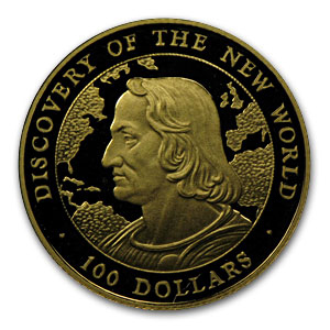 Bahamas 100 Dollars Gold Unc/Proof Random Dates Columbus