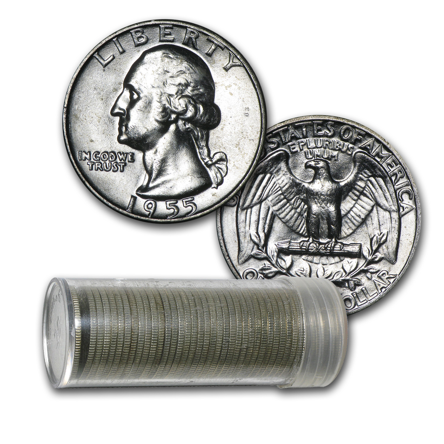 1955-D Washington Quarter Roll (40ct) - Brilliant Uncirculated