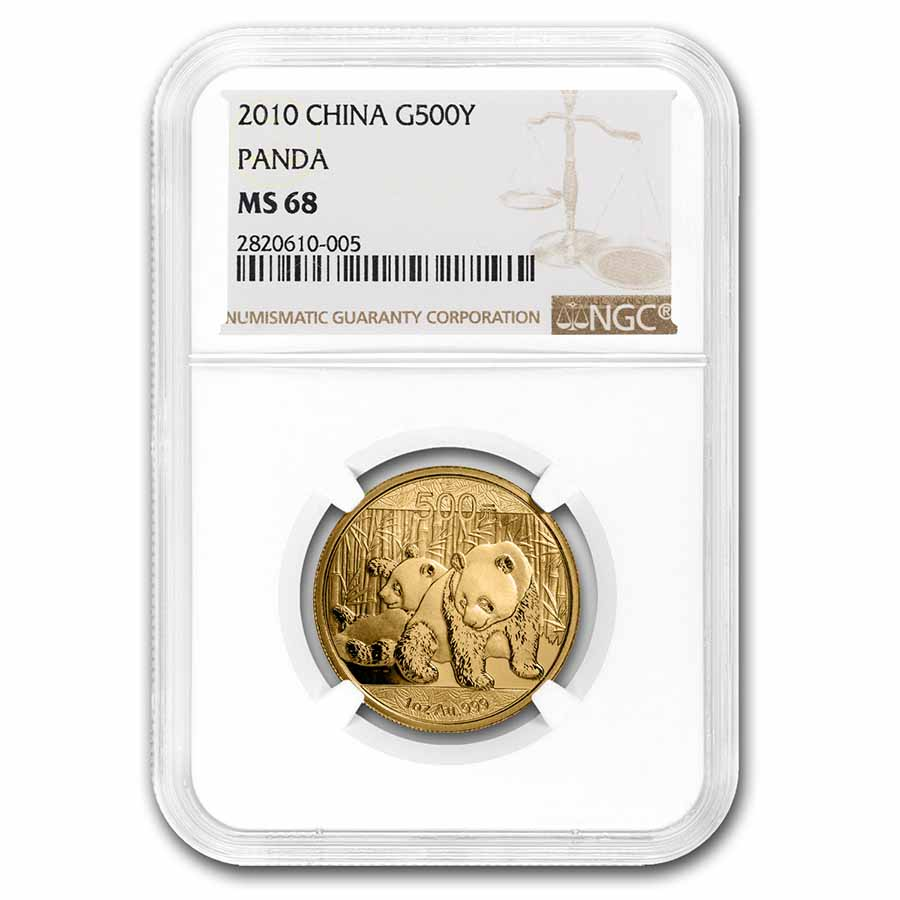 2010 China 1 oz Gold Panda MS-68 NGC