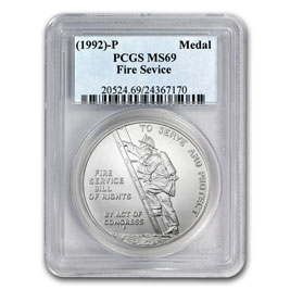 1992 Ben Franklin Firefighters Silver Medal Comm 1 oz MS-69 PCGS