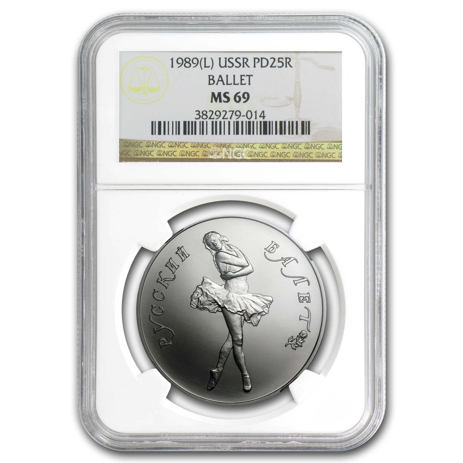 1989 1 oz Russian Palladium Ballerina MS-69 NGC