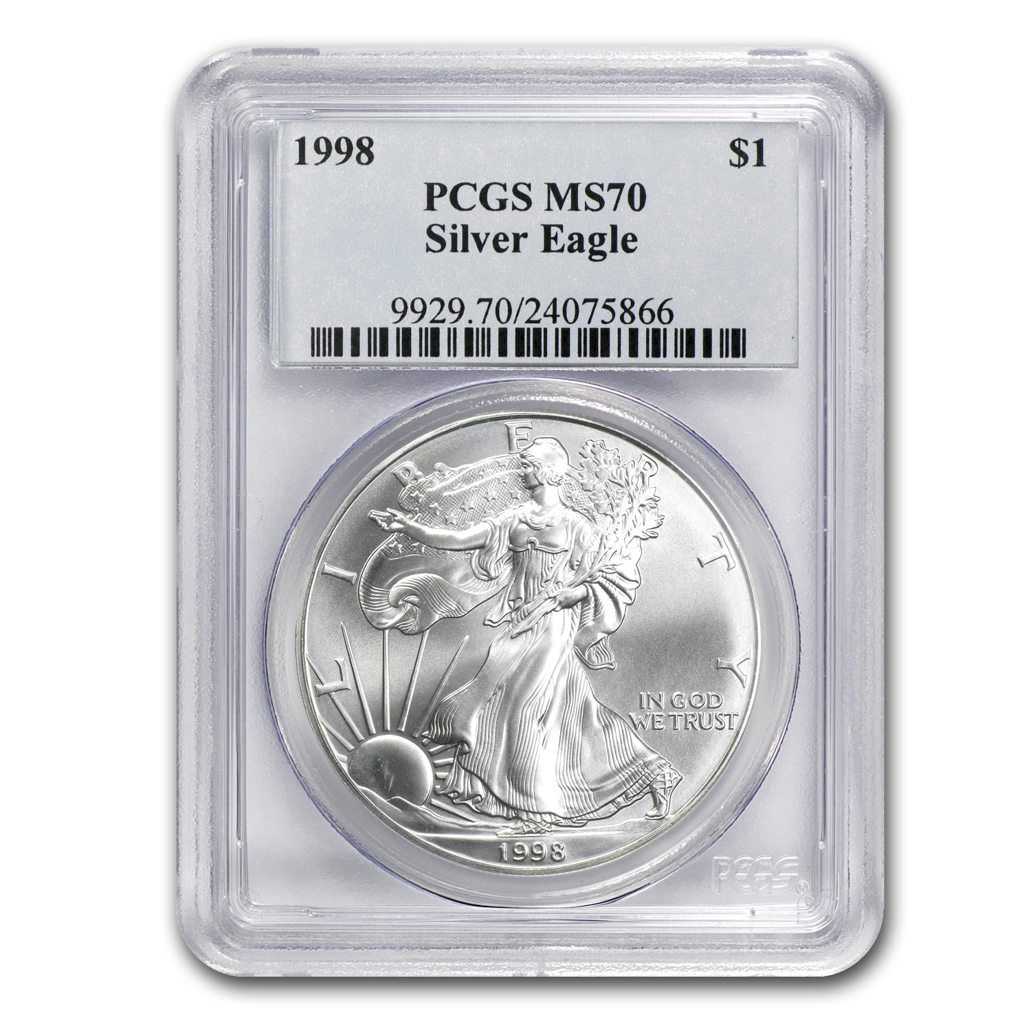 1998 Silver American Eagle MS-70 PCGS (Registry Set)
