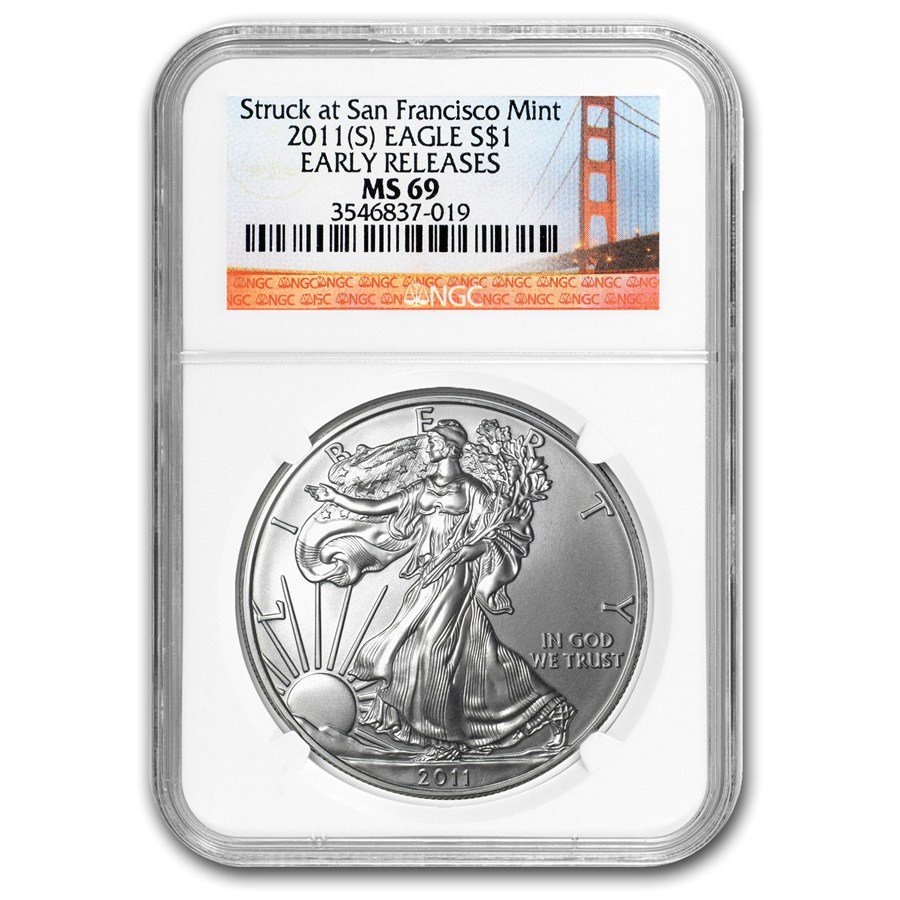 2011 S Silver American Eagle Ms 69 Ngc Er Golden Gate